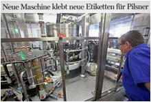 Glückauf Biere – Neue Maschine klebt neue Etiketten für_Pilsener