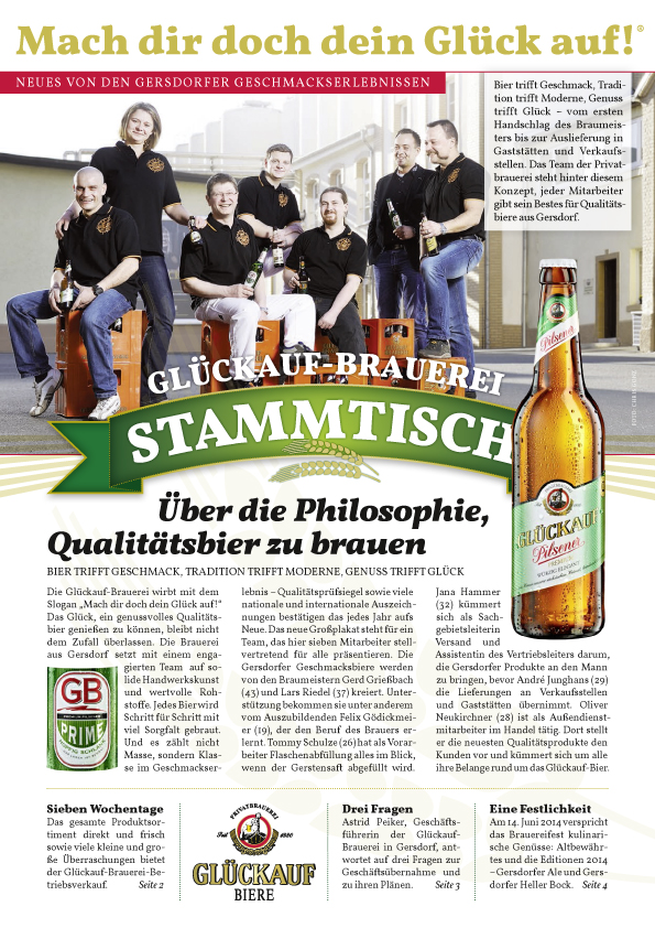 Bestens informiert mit dem 'Glückauf-Brauerei Stammtisch'