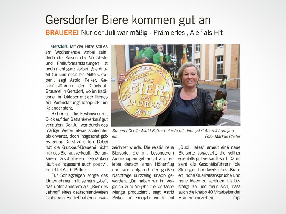 Glückauf Brauerei Gersdorf - Blick, Gersdorfer Ale, DLG-Gold