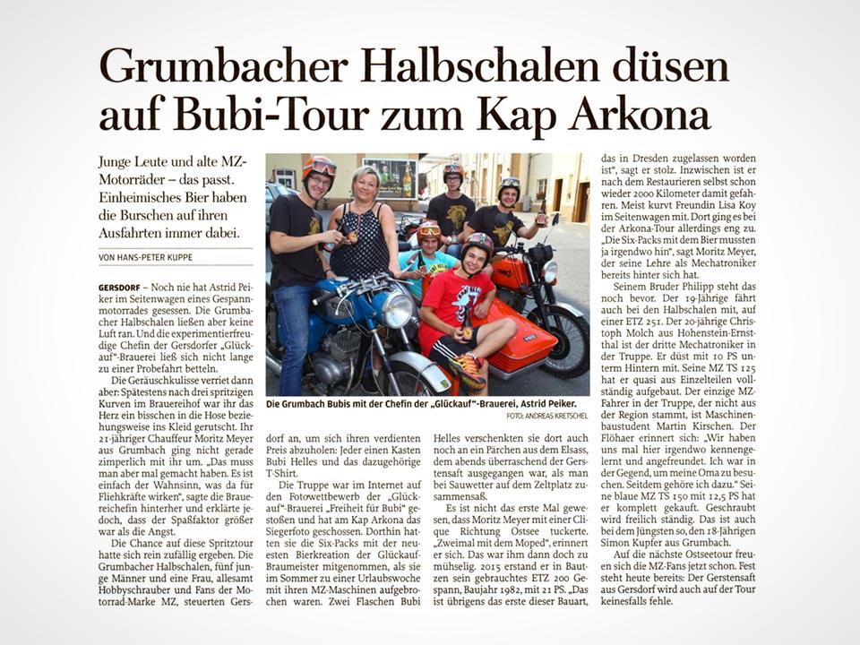 Glückauf Brauerei Gersdorf - Freie Presse, Bubi Helles Gewinnspiel - MZ Fans