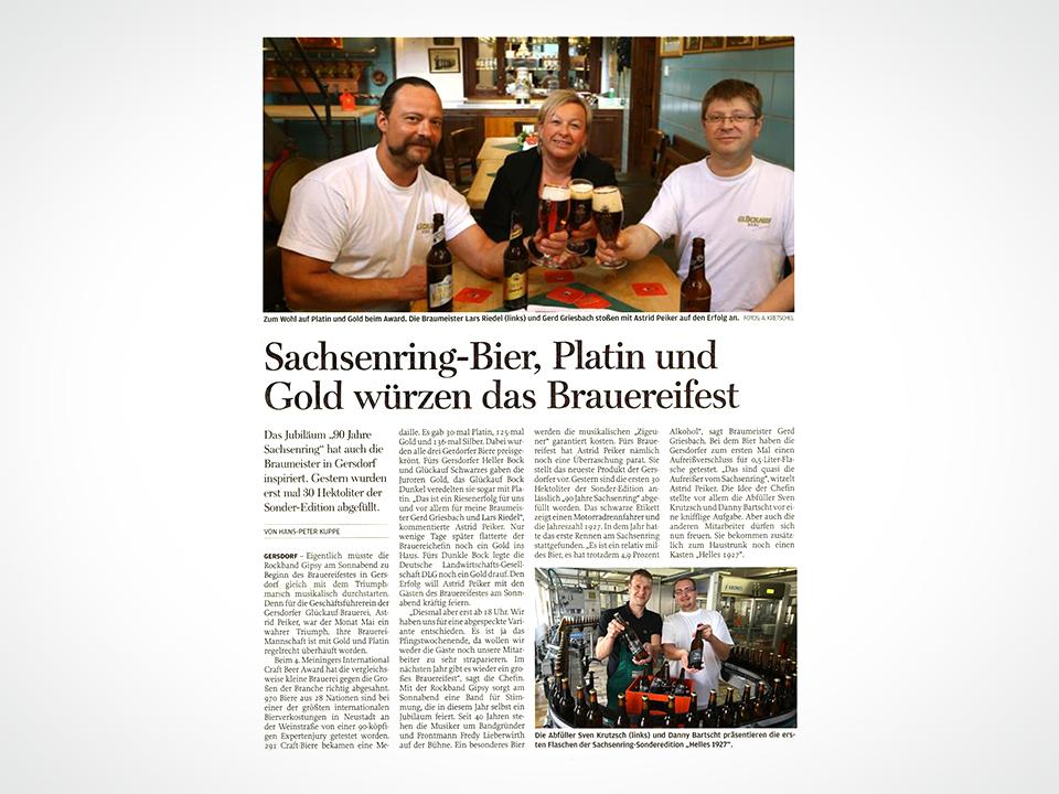 Sachsenring-Bier, Platin und Gold würzen das Brauereifest