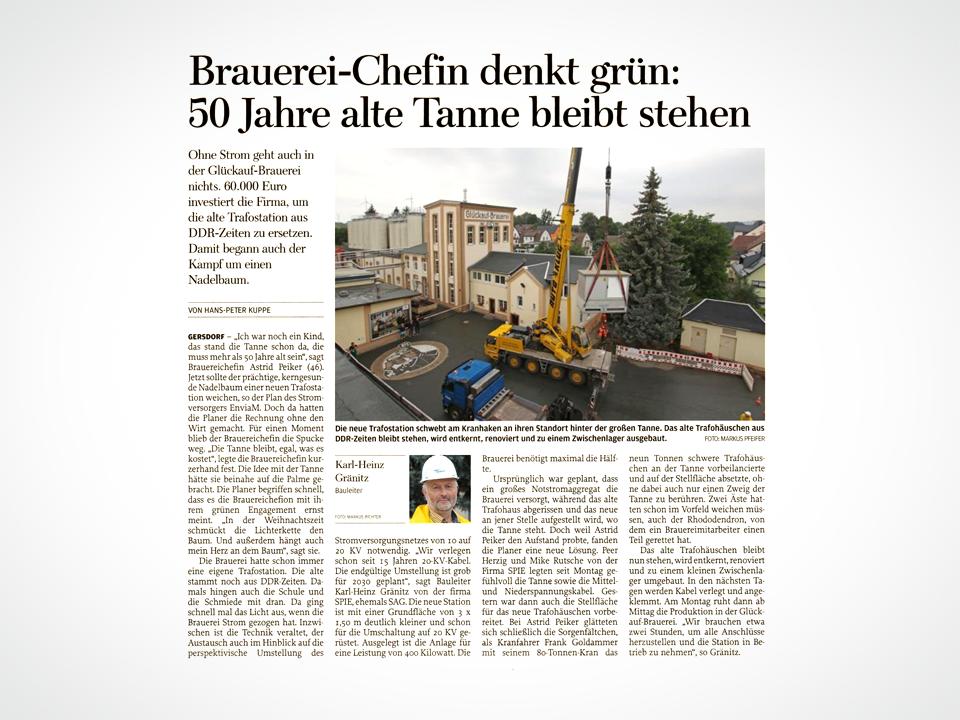 Brauerei-Chefin denkt grün: 50 Jahre alte Tanne bleibt stehen