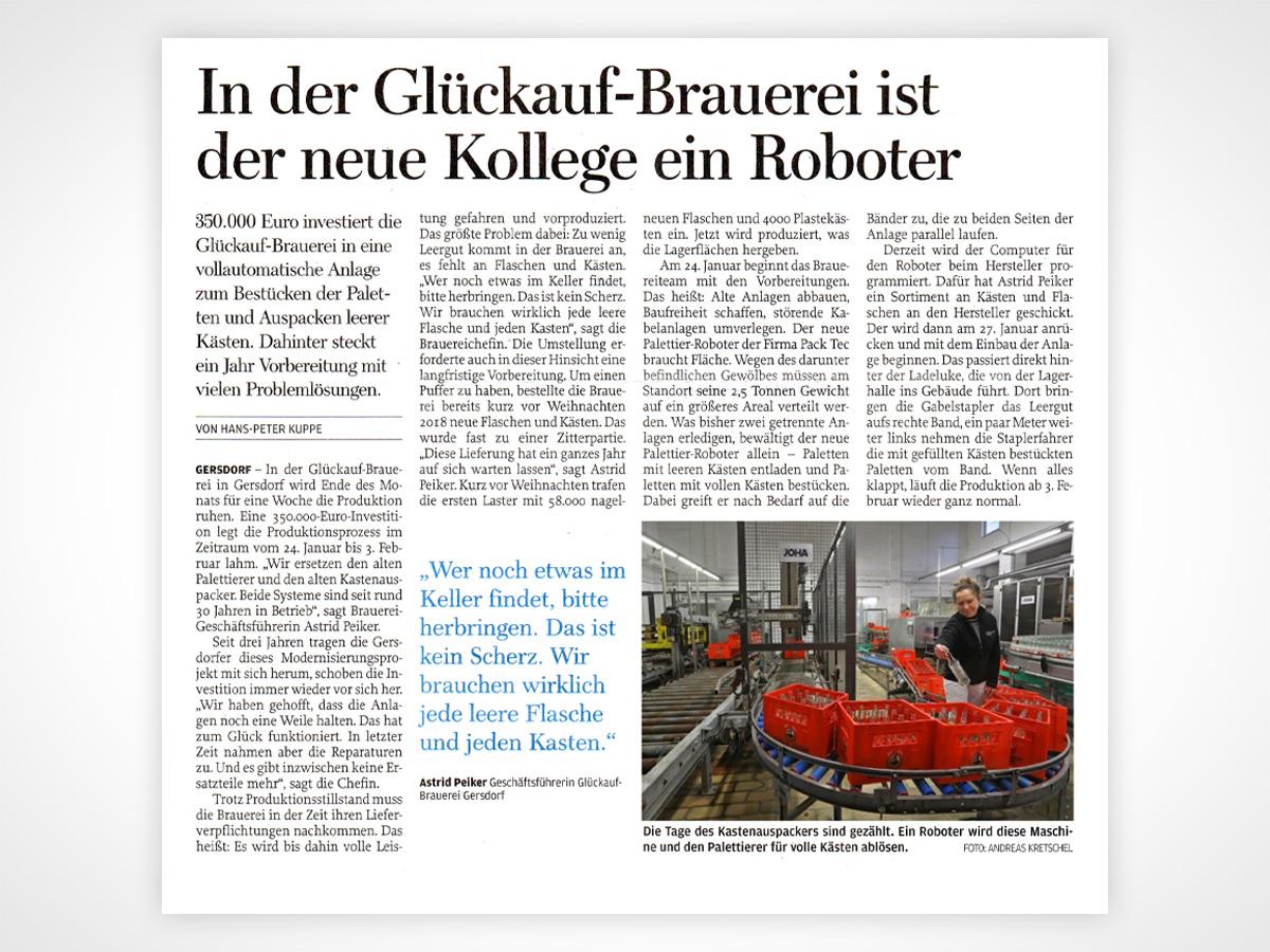 In der Glückauf-Brauerei ist der neue Kollege ein Roboter.