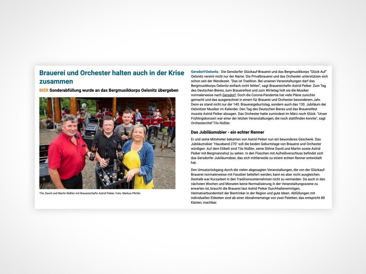 Tilo, David und Martin Nüßler mit Brauereichefin Astrid Peiker