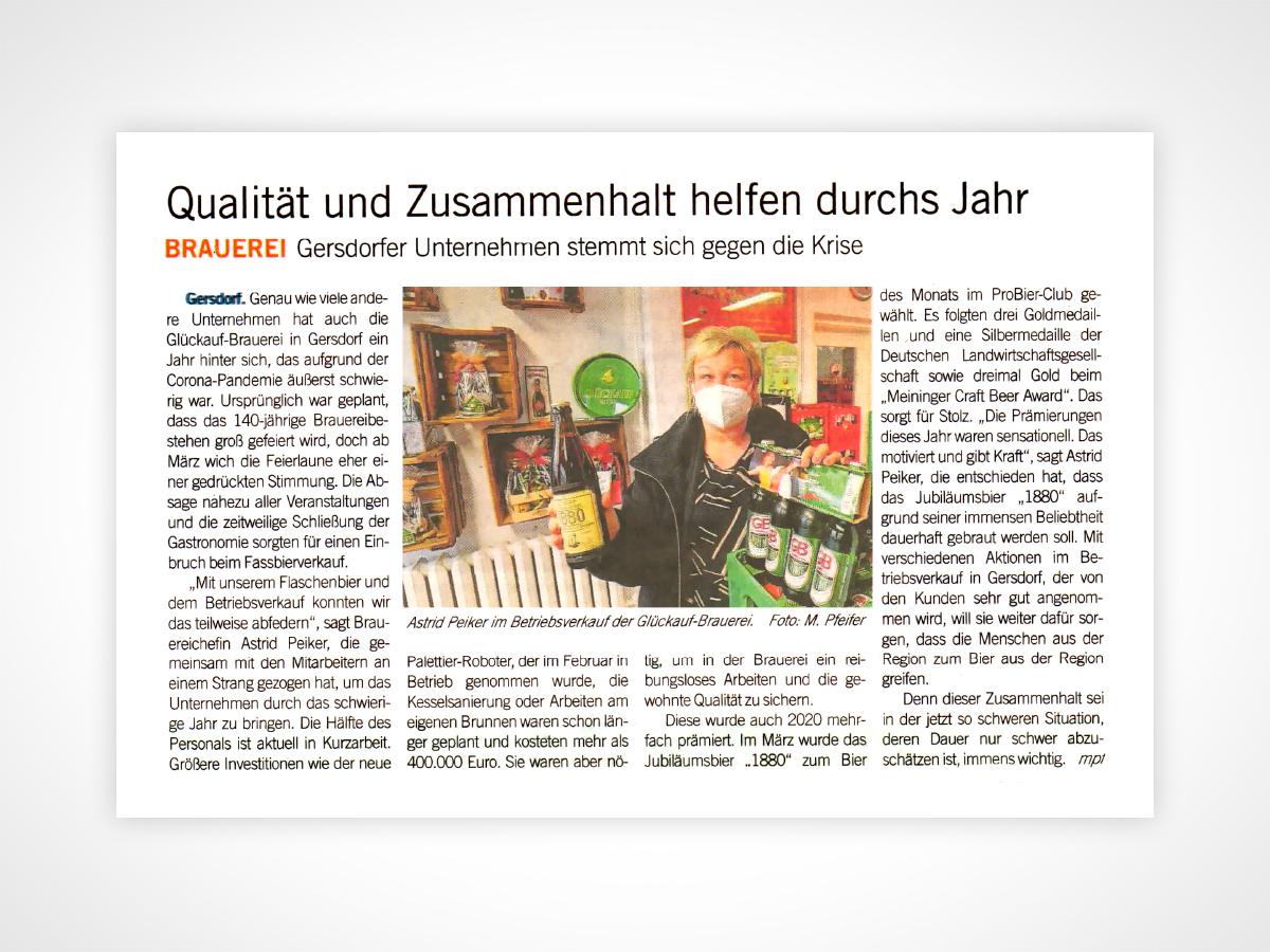 Astrid Peiker im Betriebsverkauf der Glückauf-Brauerei